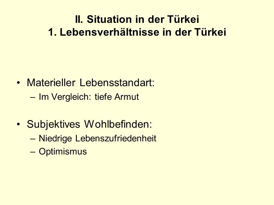 II. Situation in der Türkei 1. Lebensverhältnisse in der Türkei