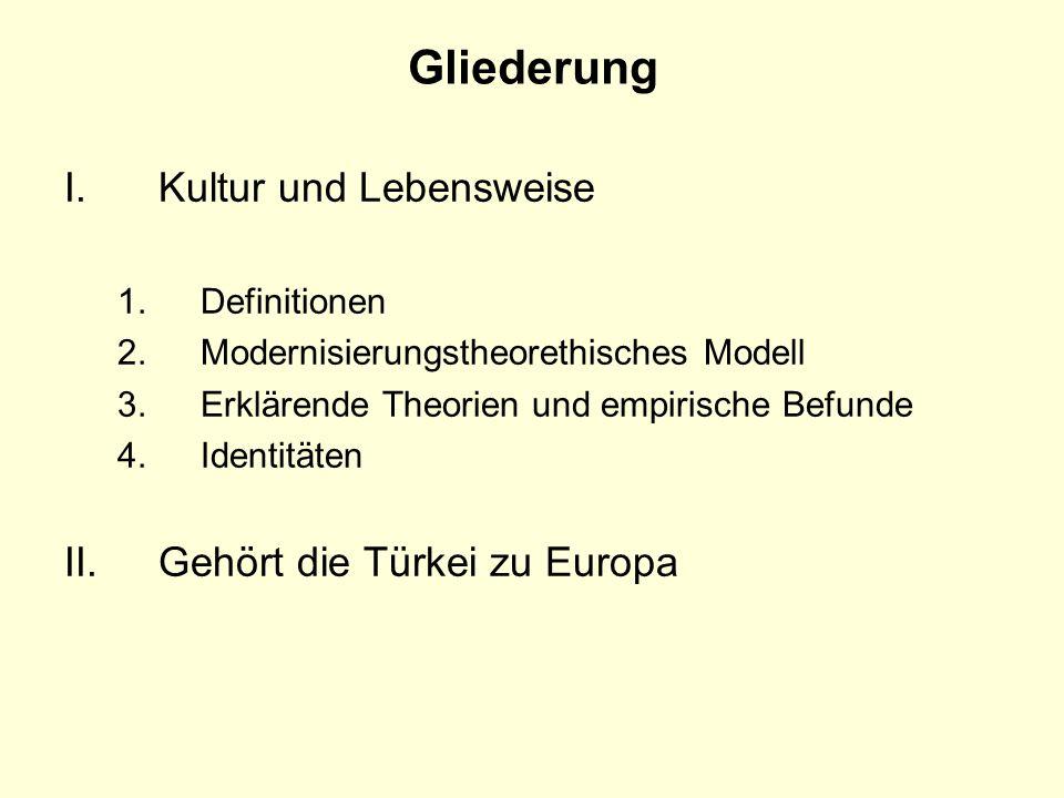Gliederung Kultur und Lebensweise Gehört die Türkei zu Europa