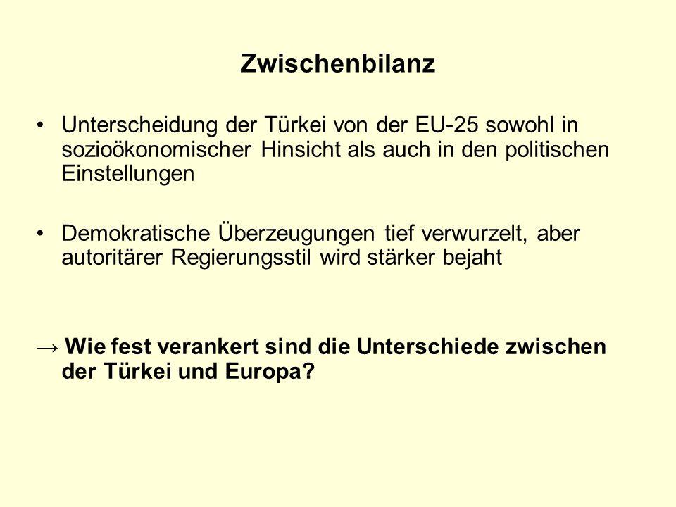 Zwischenbilanz Unterscheidung der Türkei von der EU-25 sowohl in sozioökonomischer Hinsicht als auch in den politischen Einstellungen.