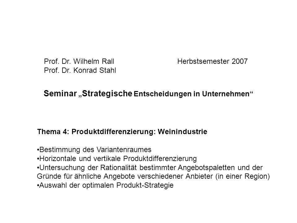 """Seminar """"Strategische Entscheidungen in Unternehmen"""