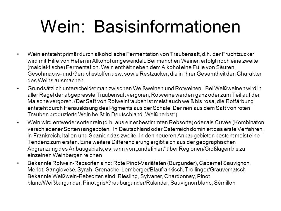 Wein: Basisinformationen