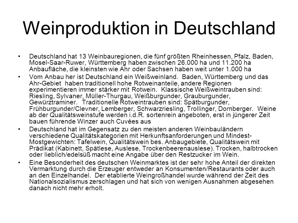 Weinproduktion in Deutschland