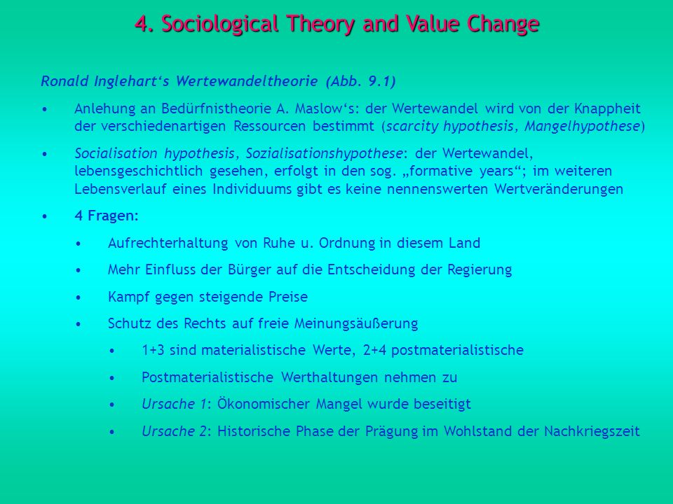 4. Sociological Theory and Value Change
