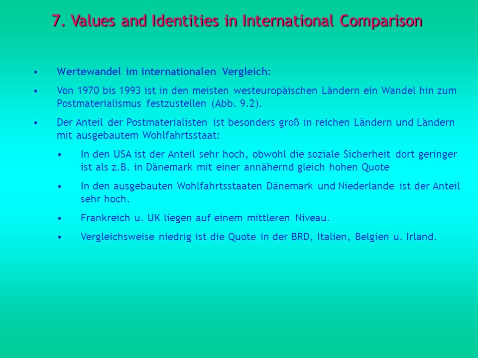 7. Values and Identities in International Comparison