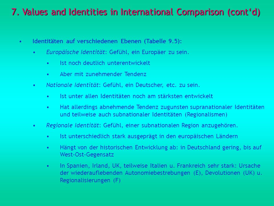 7. Values and Identities in International Comparison (cont'd)