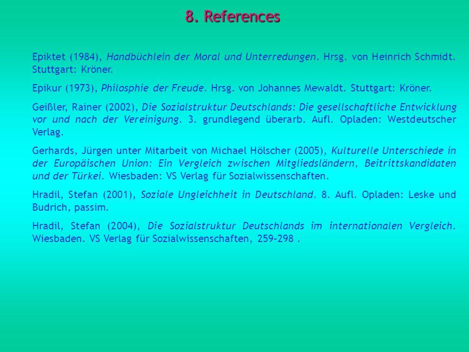 8. References Epiktet (1984), Handbüchlein der Moral und Unterredungen. Hrsg. von Heinrich Schmidt. Stuttgart: Kröner.