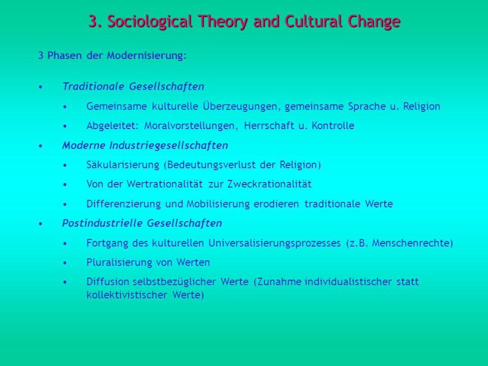 3. Sociological Theory and Cultural Change