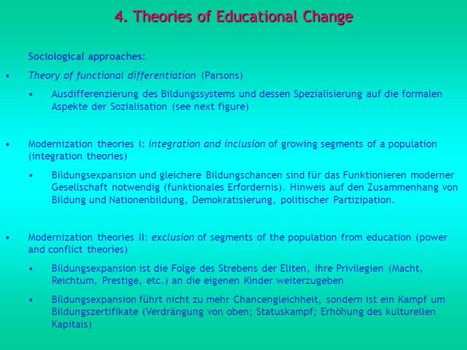4. Theories of Educational Change