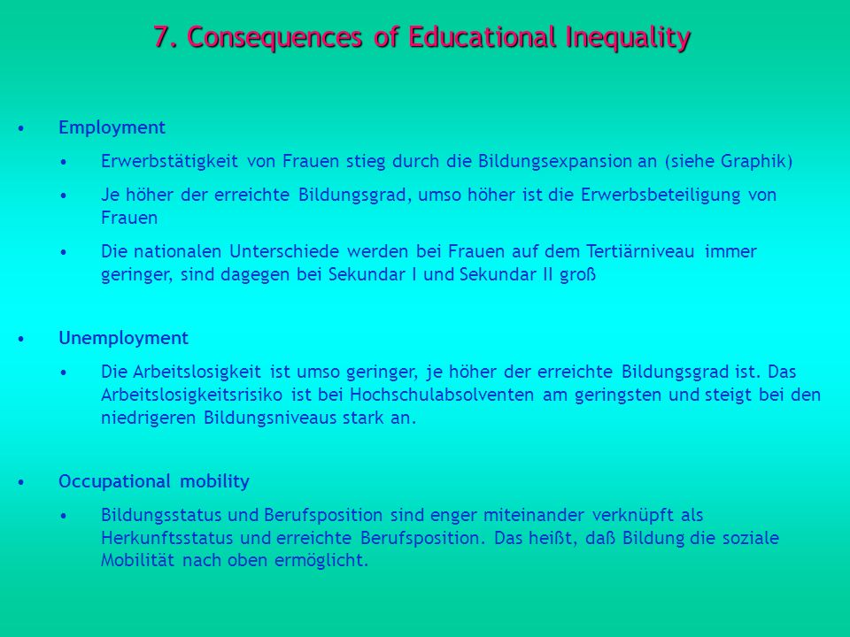 7. Consequences of Educational Inequality