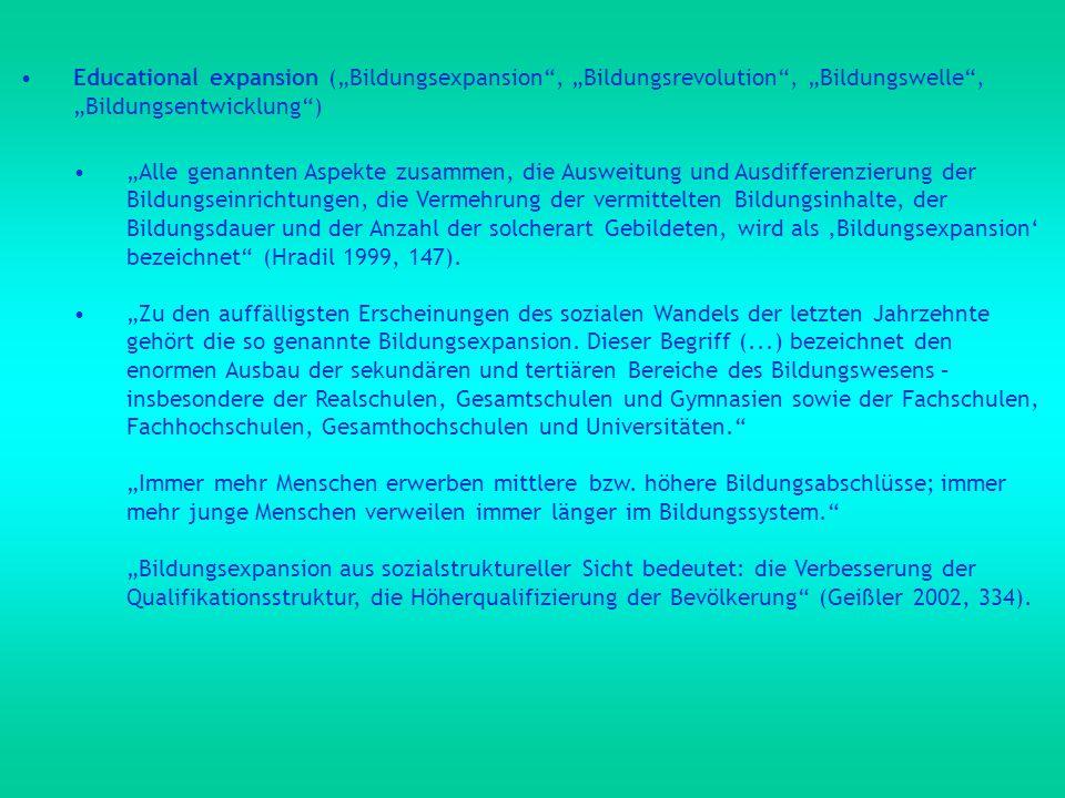 """Educational expansion (""""Bildungsexpansion , """"Bildungsrevolution , """"Bildungswelle , """"Bildungsentwicklung )"""