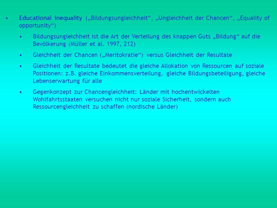"""Educational inequality (""""Bildungsungleichheit , """"Ungleichheit der Chancen , """"Equality of opportunity )"""