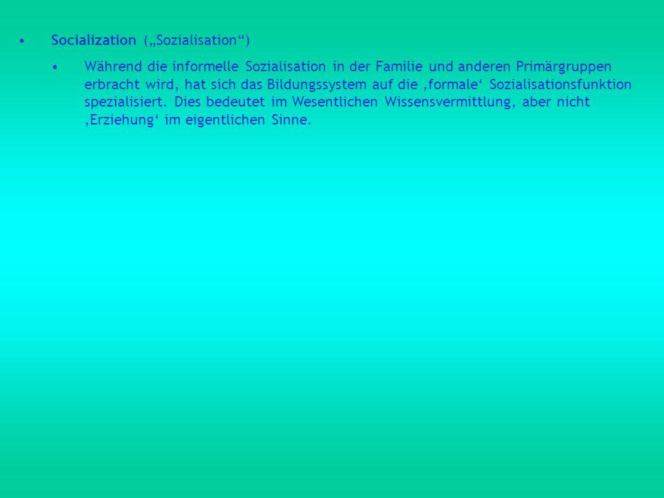 "Socialization (""Sozialisation )"