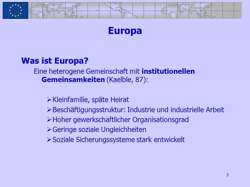 Europa Was ist Europa Eine heterogene Gemeinschaft mit institutionellen Gemeinsamkeiten (Kaelble, 87):
