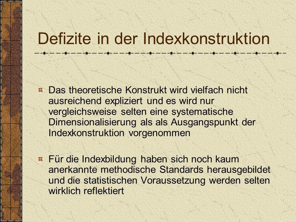 Defizite in der Indexkonstruktion