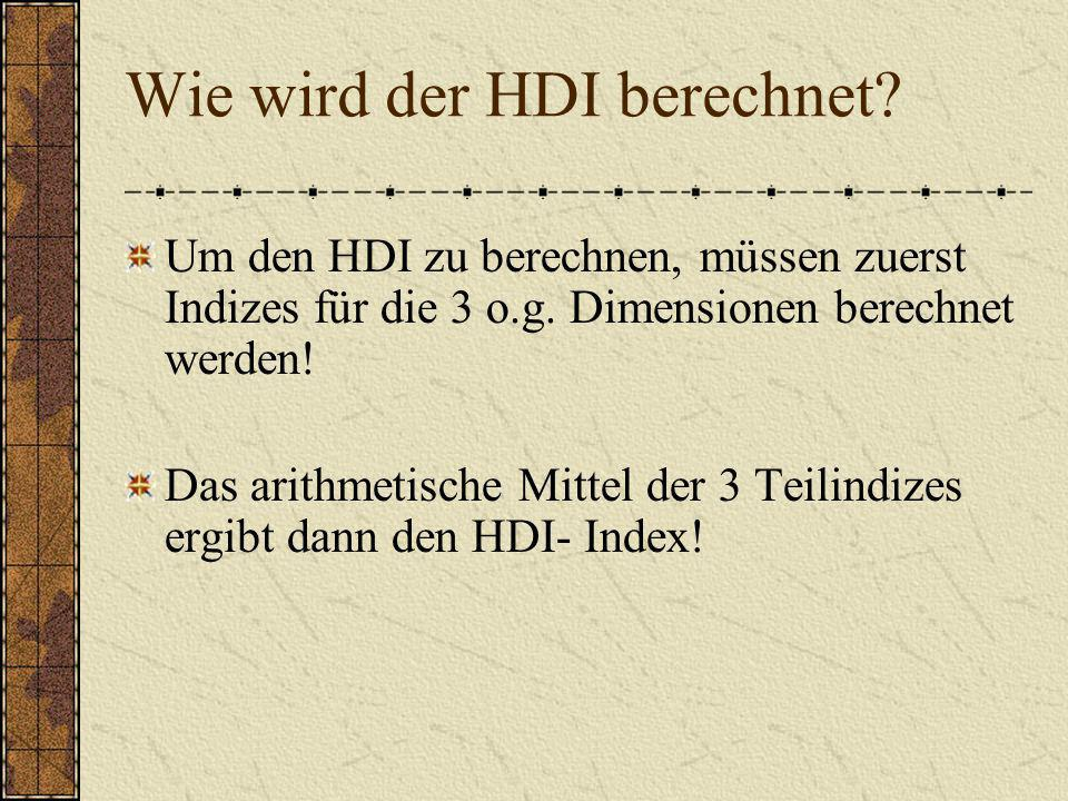 Wie wird der HDI berechnet