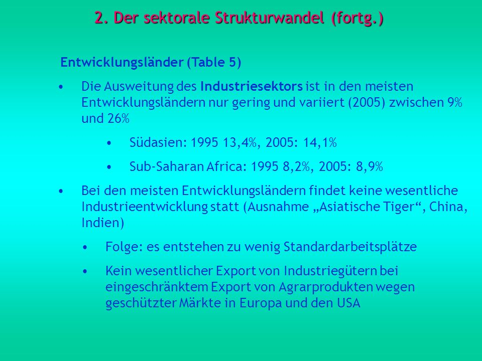 2. Der sektorale Strukturwandel (fortg.)