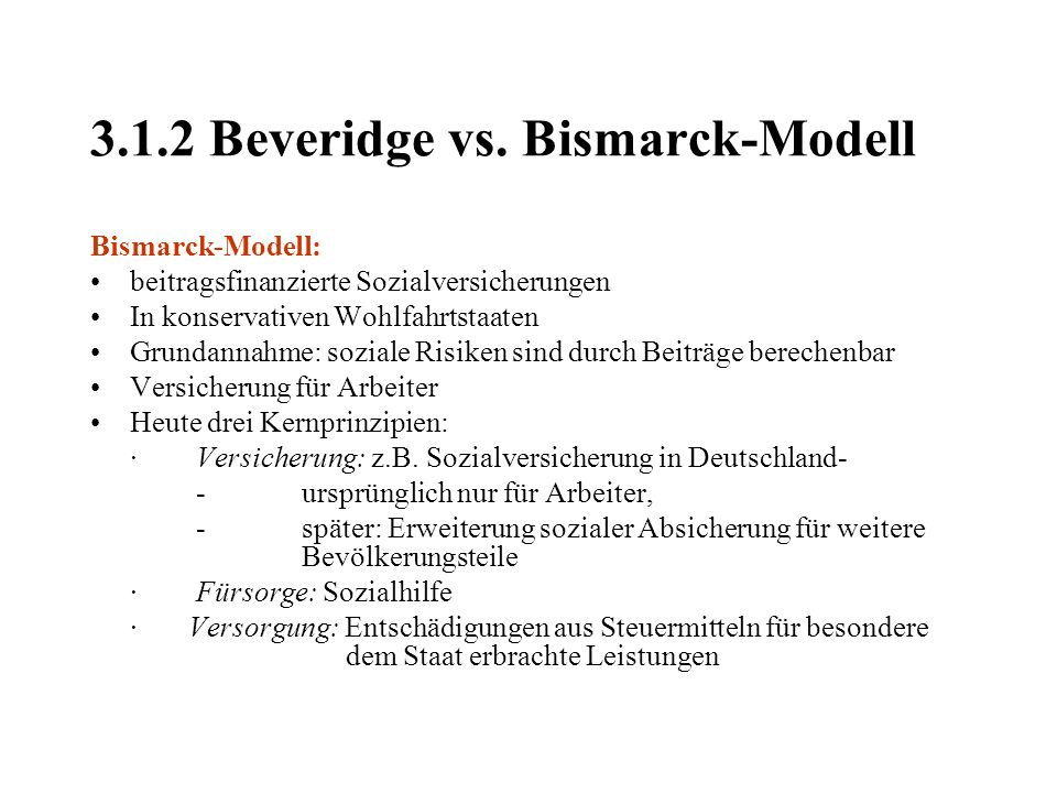 3.1.2 Beveridge vs. Bismarck-Modell