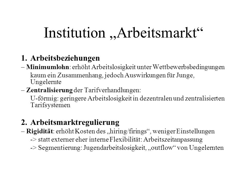 "Institution ""Arbeitsmarkt"