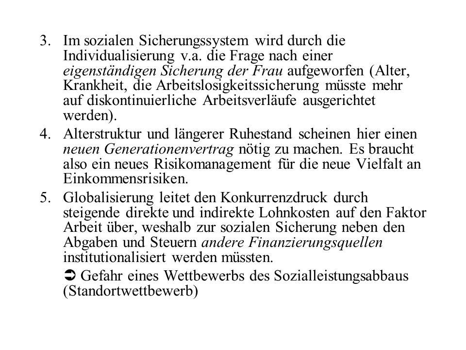 Im sozialen Sicherungssystem wird durch die Individualisierung v. a