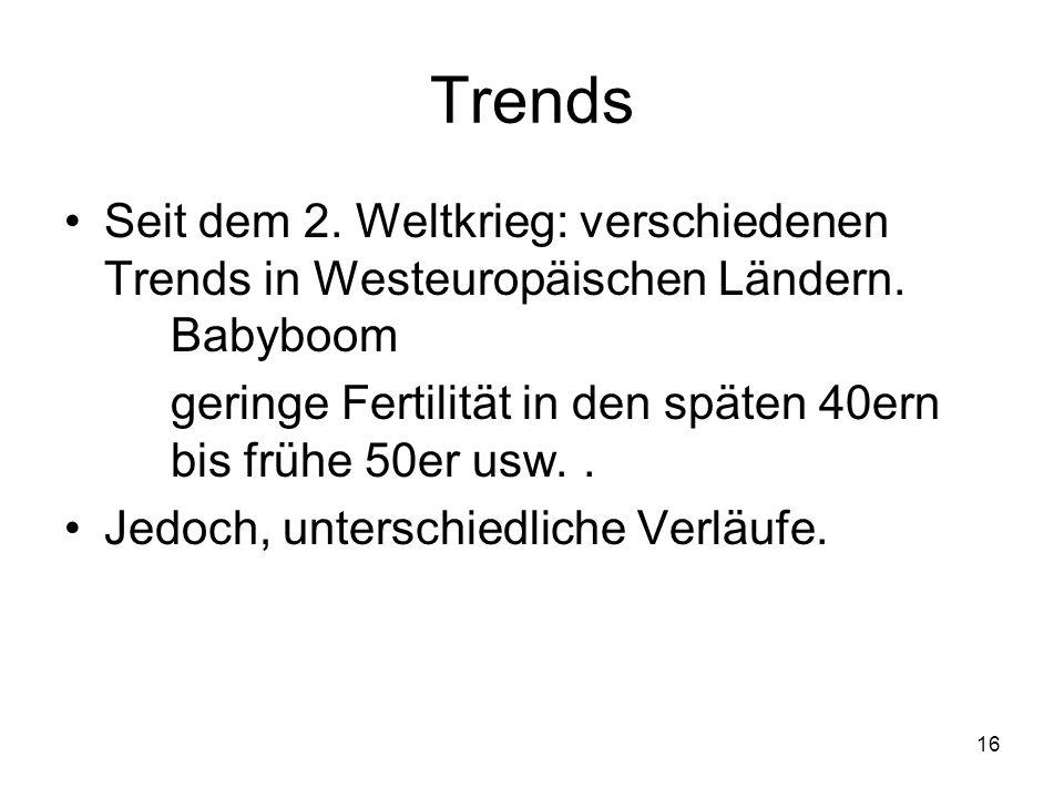 Trends Seit dem 2. Weltkrieg: verschiedenen Trends in Westeuropäischen Ländern. Babyboom.