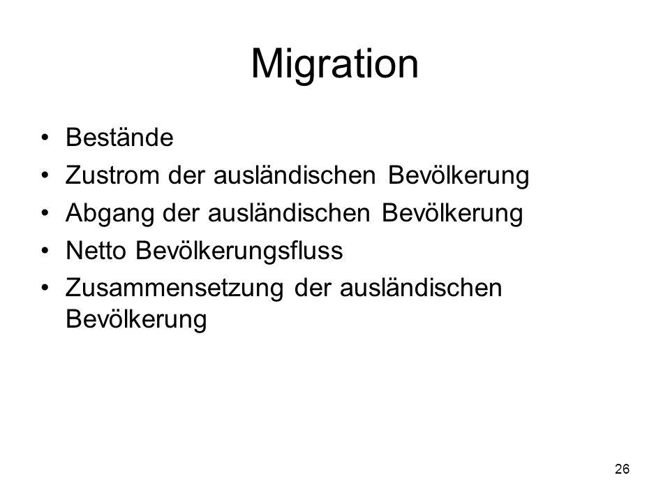 Migration Bestände Zustrom der ausländischen Bevölkerung