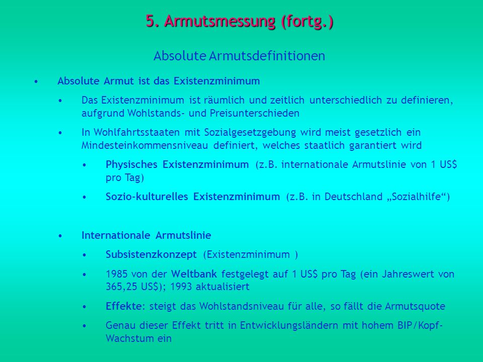 5. Armutsmessung (fortg.)
