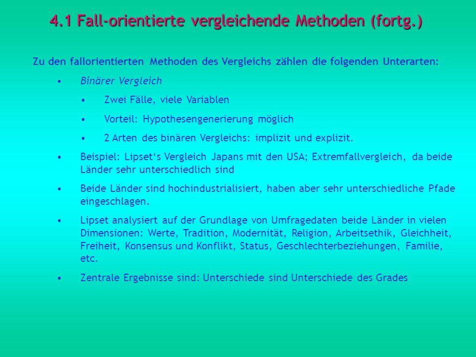 4.1 Fall-orientierte vergleichende Methoden (fortg.)