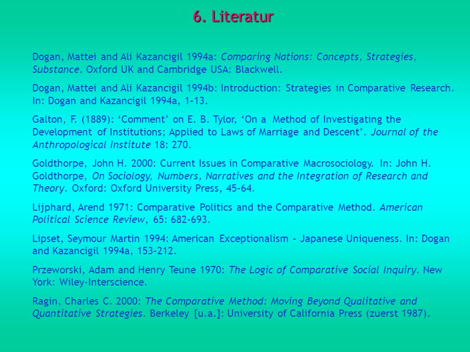 6. Literatur Dogan, Mattei and Ali Kazancigil 1994a: Comparing Nations: Concepts, Strategies, Substance. Oxford UK and Cambridge USA: Blackwell.