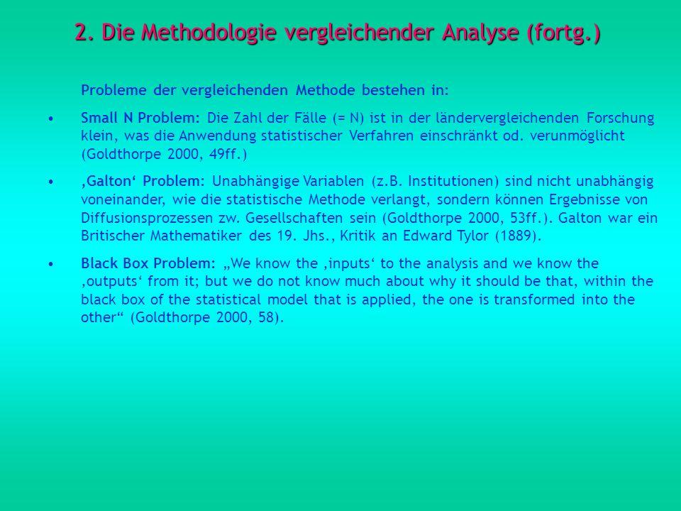 2. Die Methodologie vergleichender Analyse (fortg.)