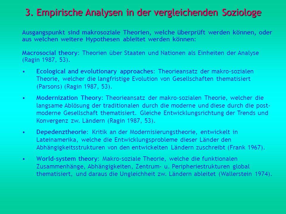 3. Empirische Analysen in der vergleichenden Soziologe