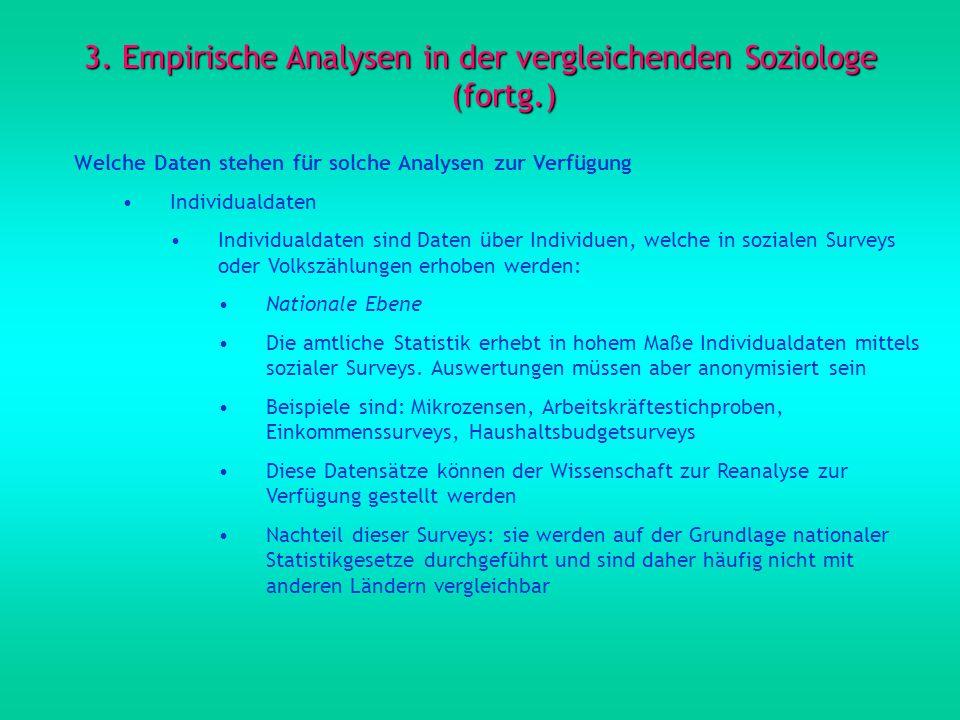 3. Empirische Analysen in der vergleichenden Soziologe (fortg.)
