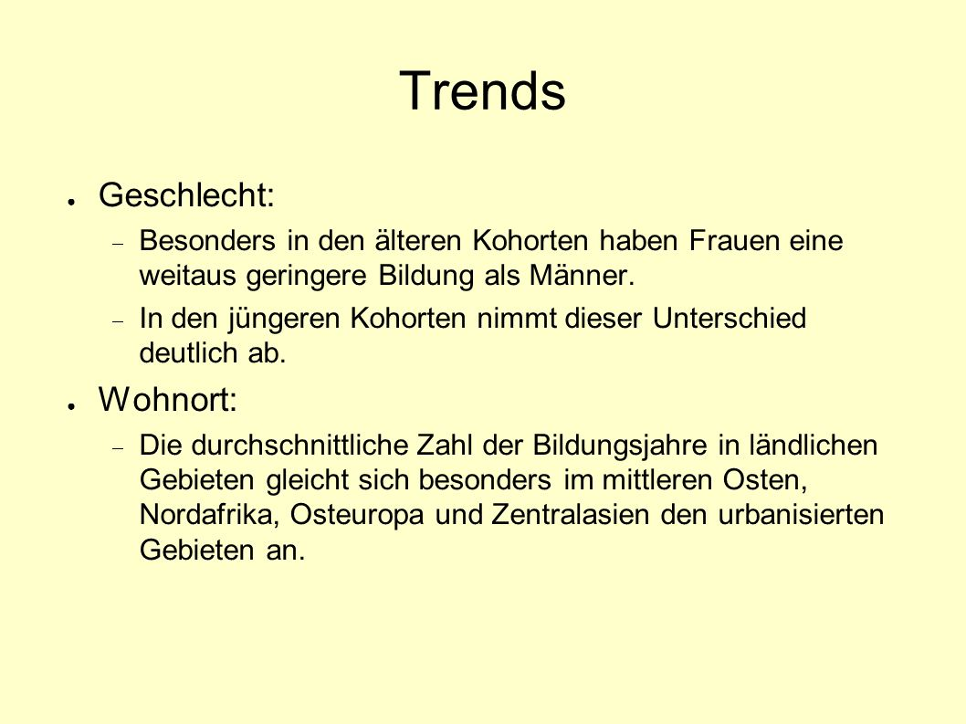 Trends Geschlecht: Wohnort: