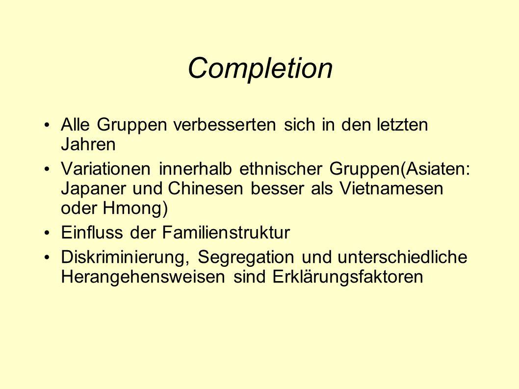 Completion Alle Gruppen verbesserten sich in den letzten Jahren