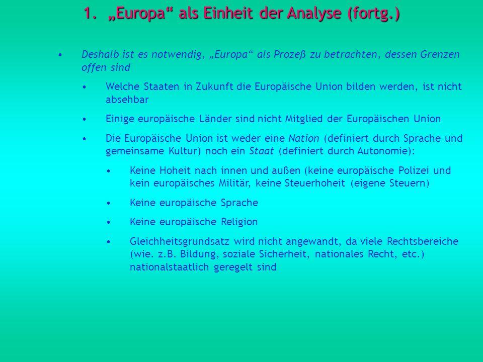 """""""Europa als Einheit der Analyse (fortg.)"""