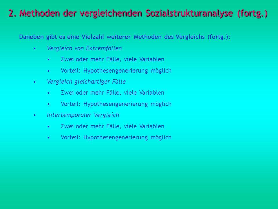 2. Methoden der vergleichenden Sozialstrukturanalyse (fortg.)