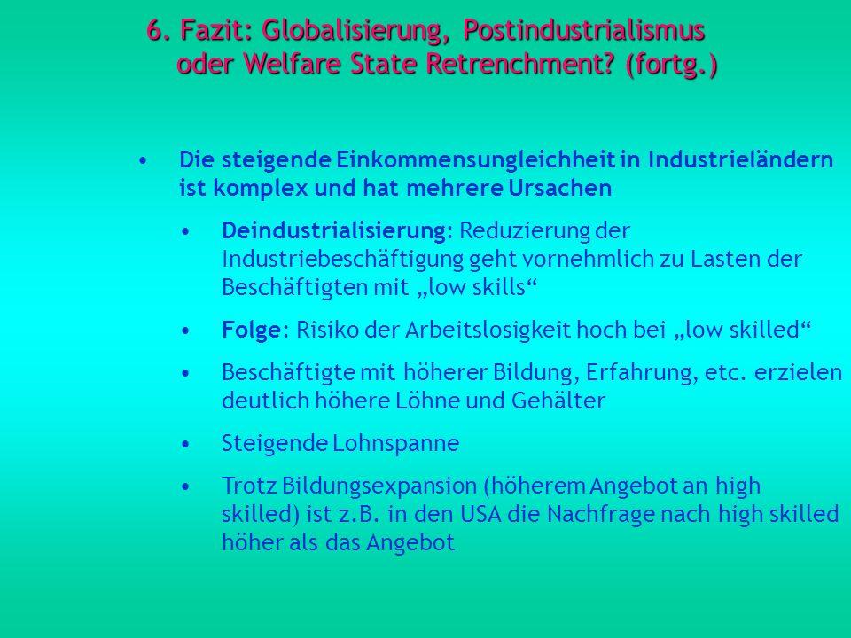 6. Fazit: Globalisierung, Postindustrialismus oder Welfare State Retrenchment (fortg.)