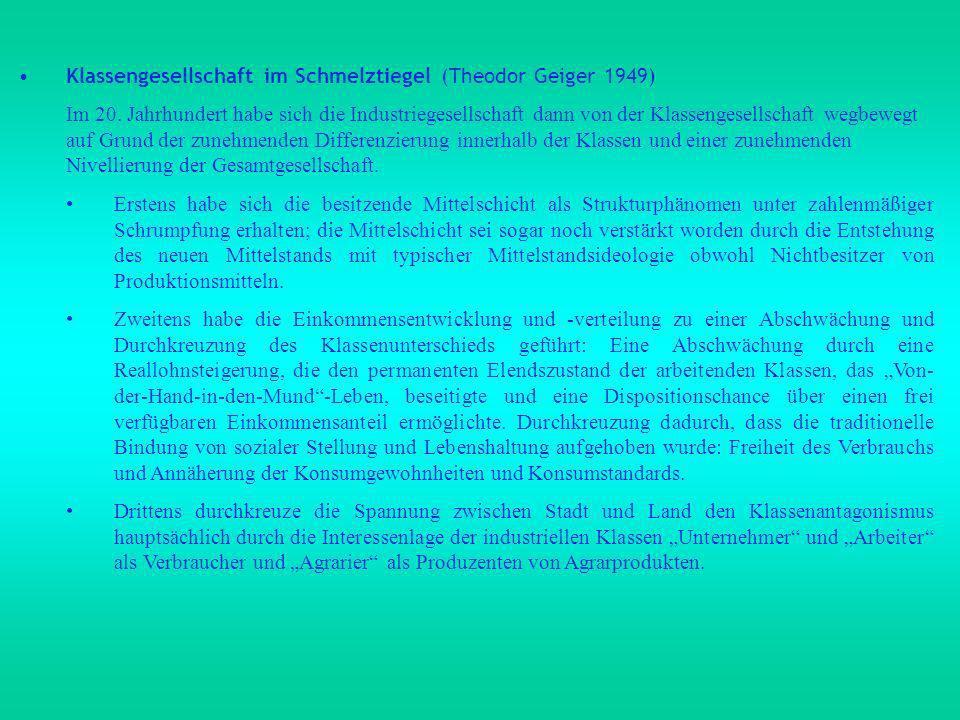 Klassengesellschaft im Schmelztiegel (Theodor Geiger 1949)
