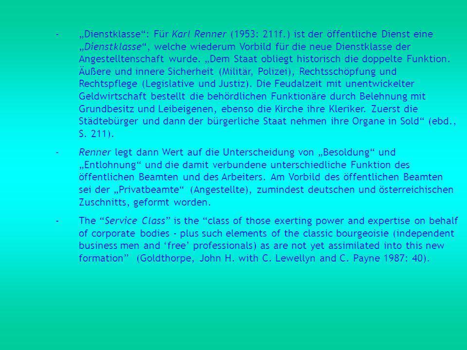 """""""Dienstklasse : Für Karl Renner (1953: 211f"""