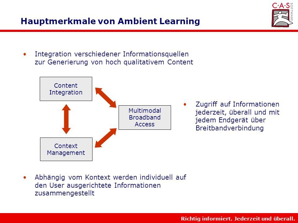 Hauptmerkmale von Ambient Learning