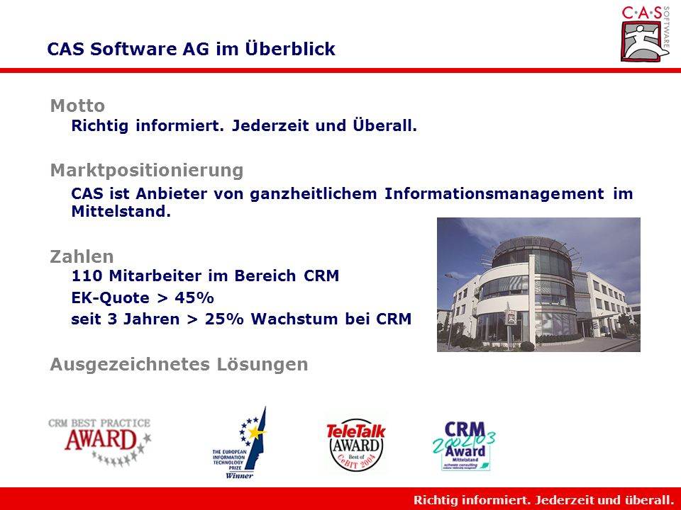 CAS Software AG im Überblick