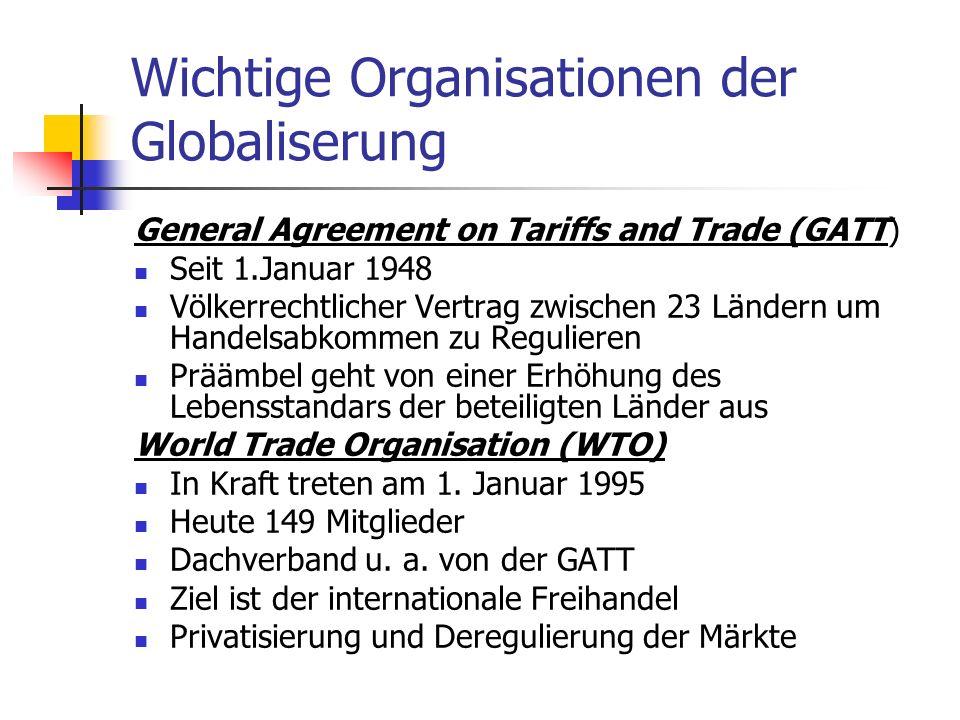 Wichtige Organisationen der Globaliserung