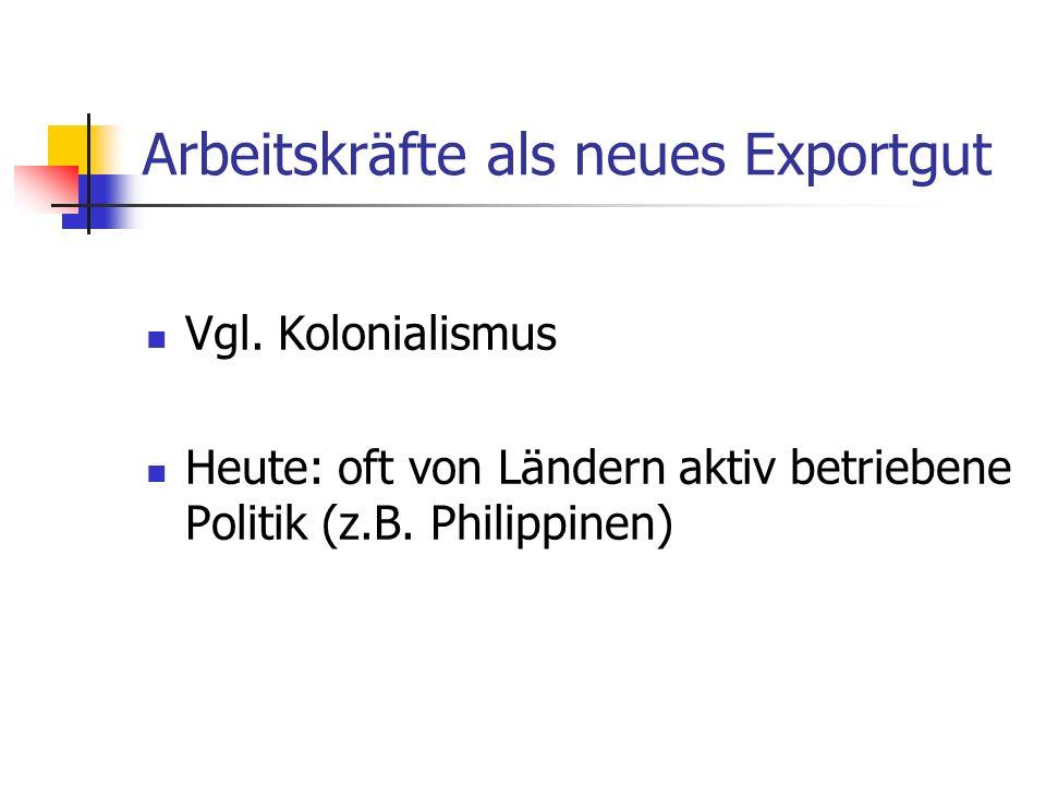 Arbeitskräfte als neues Exportgut