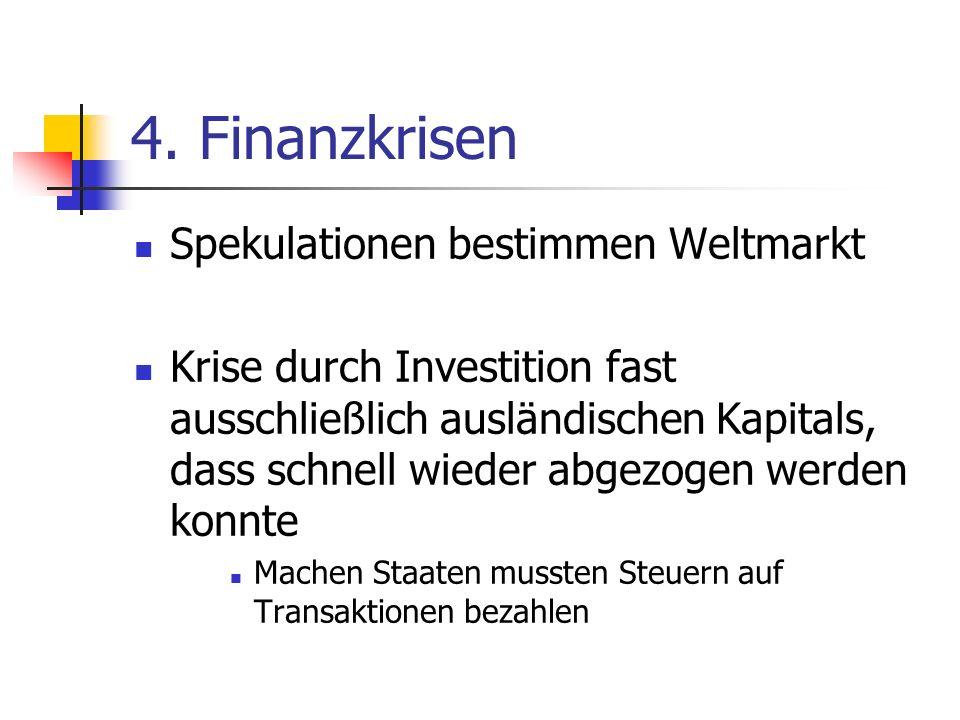 4. Finanzkrisen Spekulationen bestimmen Weltmarkt