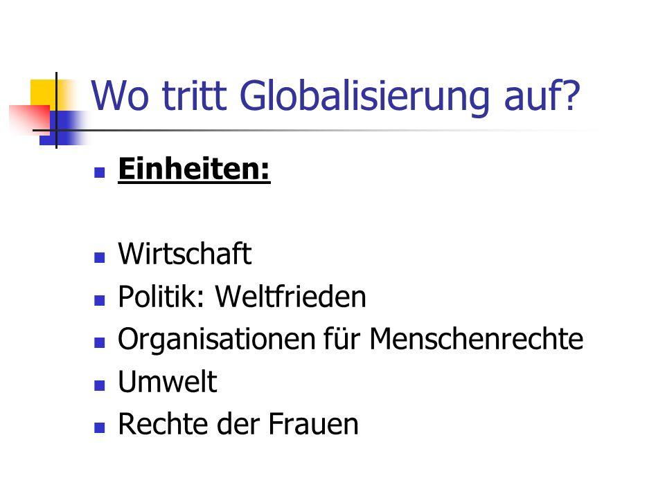 Wo tritt Globalisierung auf