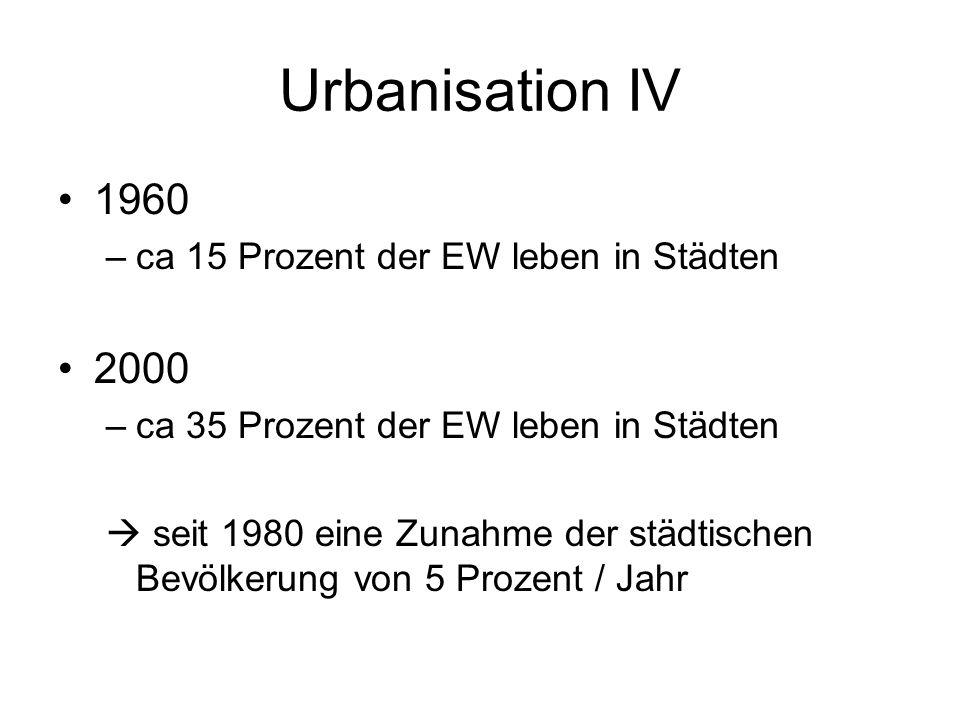Urbanisation IV 1960 2000 ca 15 Prozent der EW leben in Städten