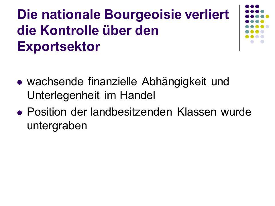 Die nationale Bourgeoisie verliert die Kontrolle über den Exportsektor