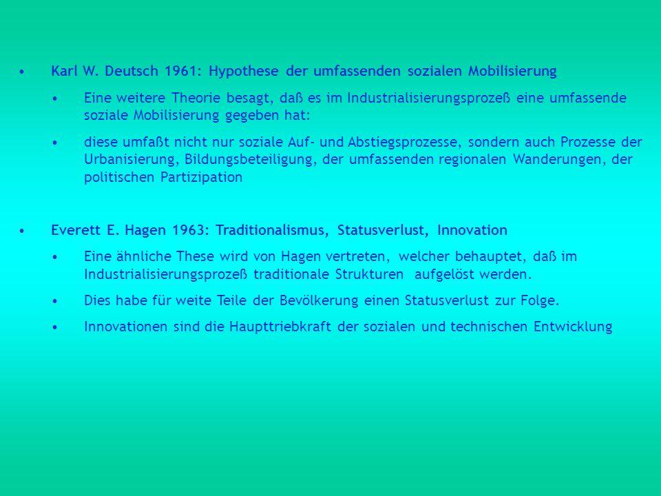 Karl W. Deutsch 1961: Hypothese der umfassenden sozialen Mobilisierung