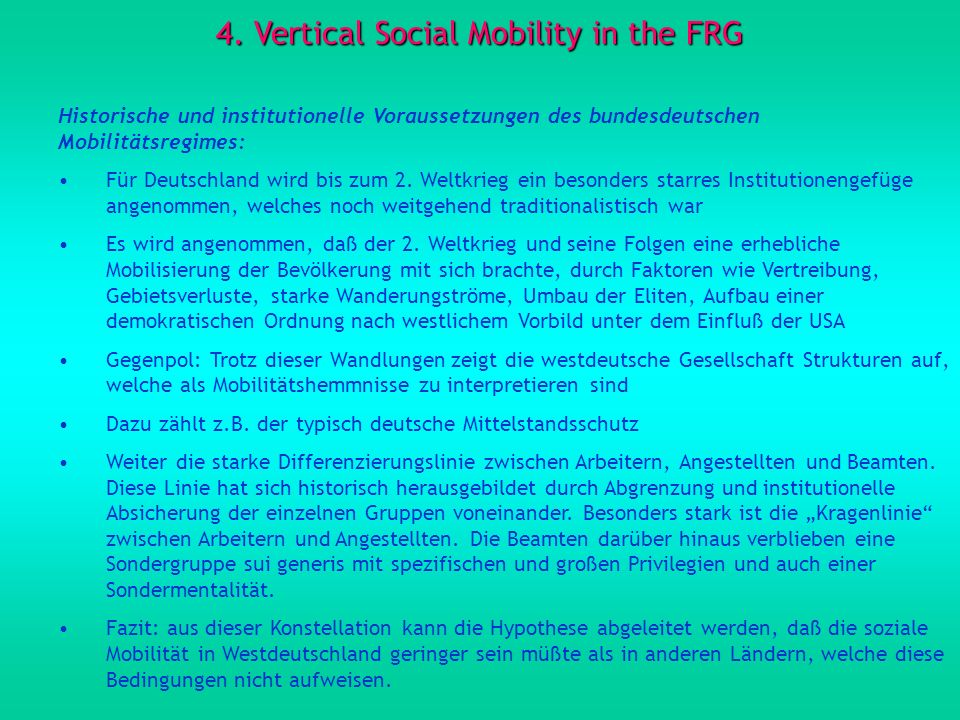 4. Vertical Social Mobility in the FRG