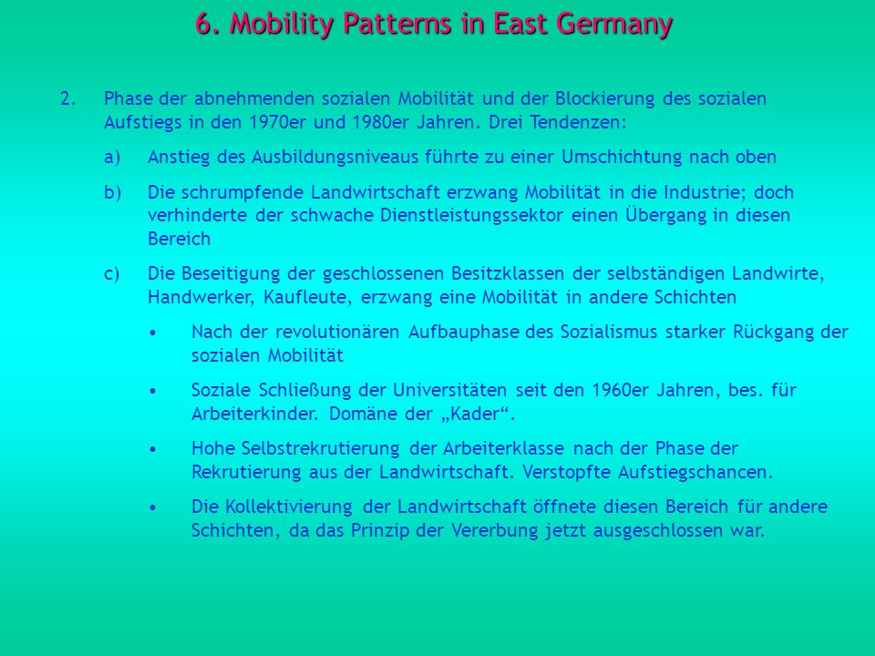 6. Mobility Patterns in East Germany
