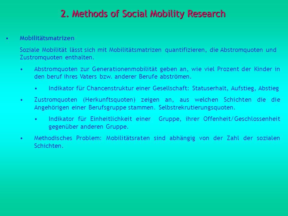 2. Methods of Social Mobility Research